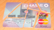 My chase card cut into 7 pieces