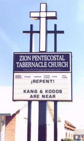 Church sign with message: Repent! Kang and Kodos are near